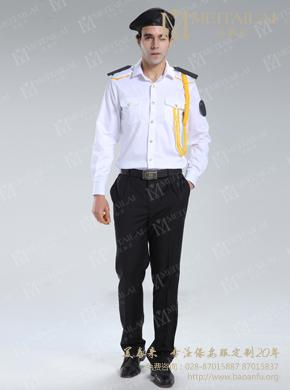 <b>男式长袖白色保安西服衬衣</b>