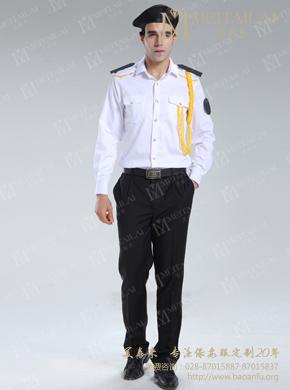 <b>男式白色短袖保安西服衬衣</b>